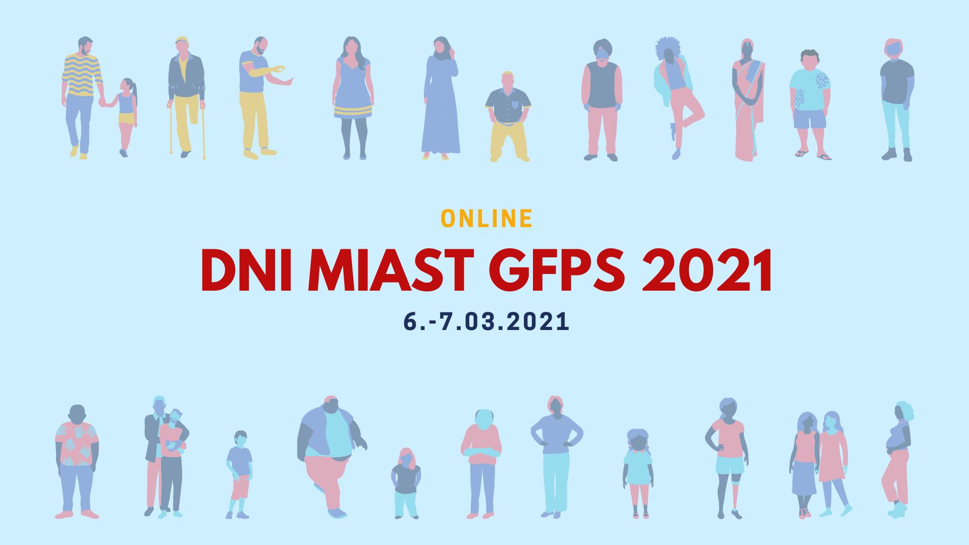Plakat Dni Miast GFPS Online Marzec 2021